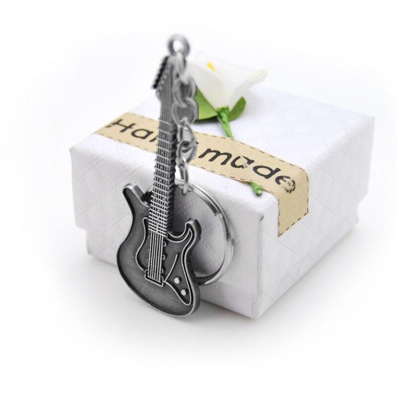 Original New Fashion Unique Guitar Keychain Purse Bag Handbag Charms Pendant For Car Keyring Women Key Chains Trinket Party Gift