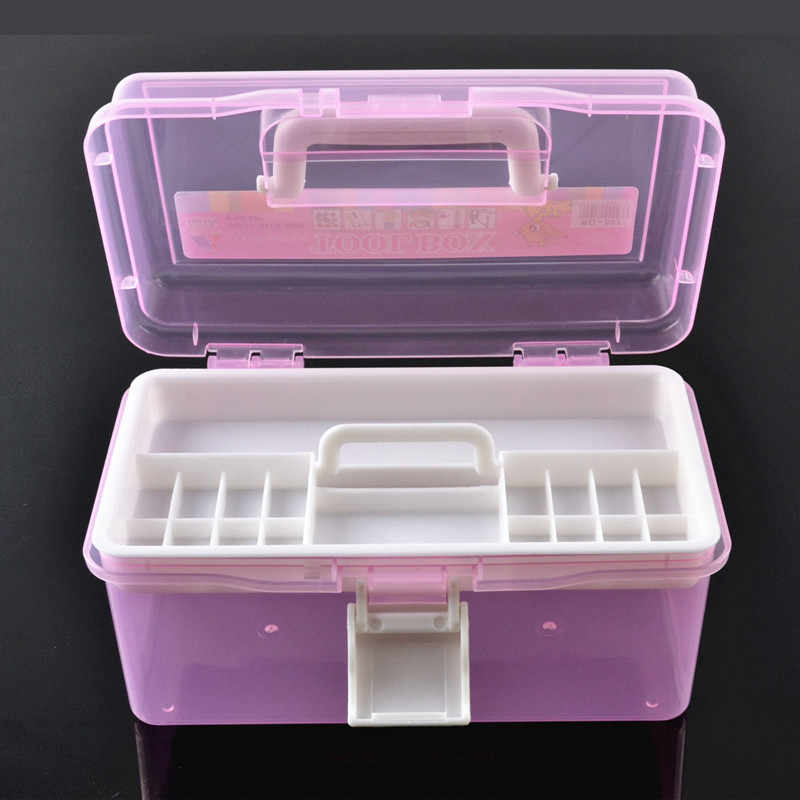 Cosmetics Nail Kit Medicine Chest Drug Storage First Aid Kit Large Space Double Layer Sub-grid Design Plastic Storage Box