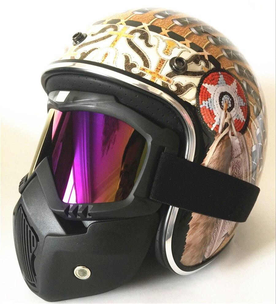 Motorcycle Goggles Vintage Half Helmets Motorcycle Biker Cruiser Scooter Touring Helmet (Brown and black )