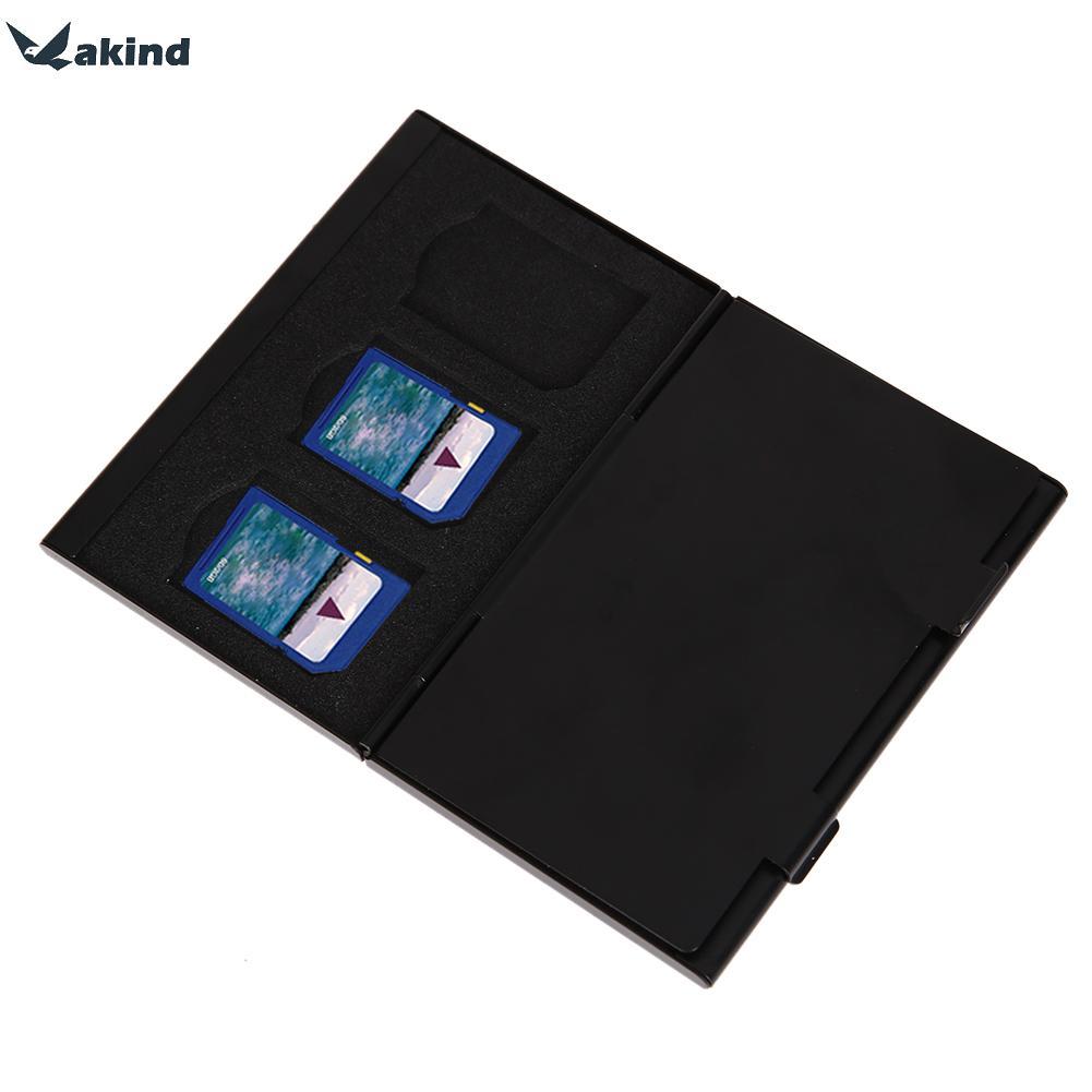 Portable Deck Aluminium Alloy 8pcs TF + 4pcs SD Memory Cards Storage Box Holder Black