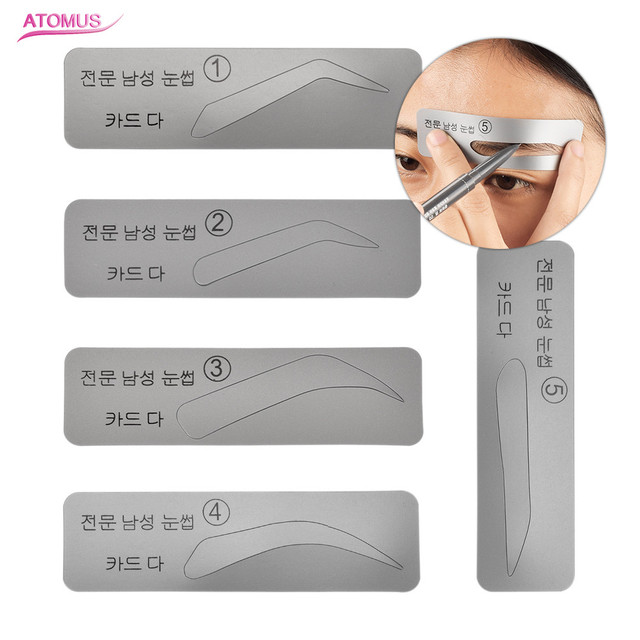 Drop Shipping 5Pcs Reusable Eyebrow Stencil Professional Beauty Makeup Eye Brow Tools Model Template Styling Tool Gray Color 5