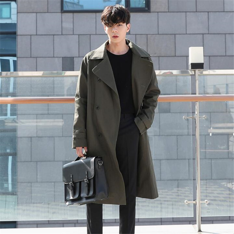Sashes Long Trench Coat Men Double Breasted Thin Windbreaker Male Spring Autumn Loose Casual Trench Coat Homme A5587 in Trench from Men 39 s Clothing