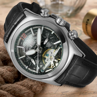 Forsining Men S Latest Design Tourbillon Watch Dome Lens Skeleton Black Genuine Leather Strap Automatic Wristwatch