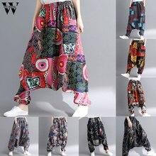 Womail, женские брюки, летняя мода, Boho, хиппи, для девушек, с принтом, свободные штаны, мешковатые брюки, высокая талия, длинные штаны, пляжные,, M531