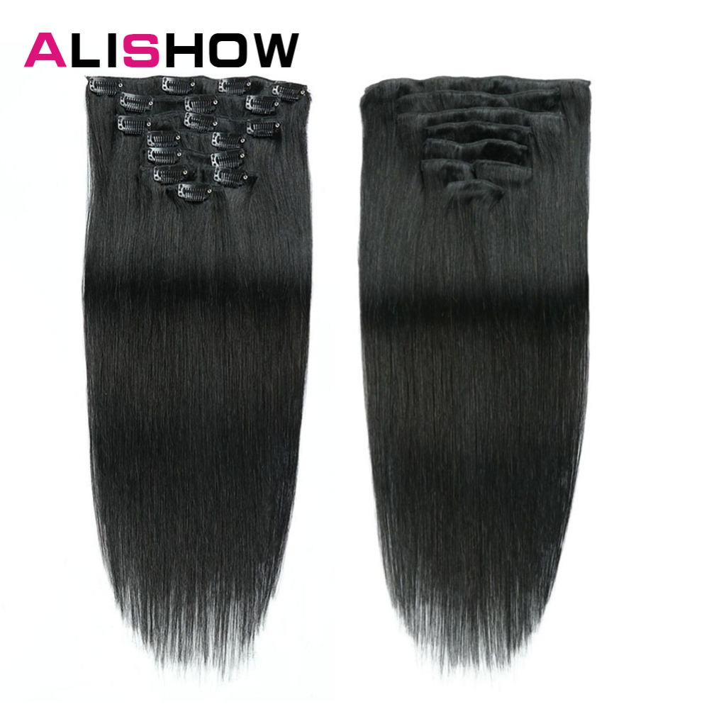 Alishow Clip In Human Hair Extensions Straight Full Head Set 7pcs 100g Machine Made Remy Hair Clip Ins 100% Human Hair Extension(China)