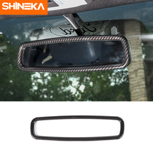 цена на SHINEKA For Ford Mustang 2015+ ABS Car Interior Rear View Mirror Decoration Cover Ring Stickers Accessories For Ford F150 2015+
