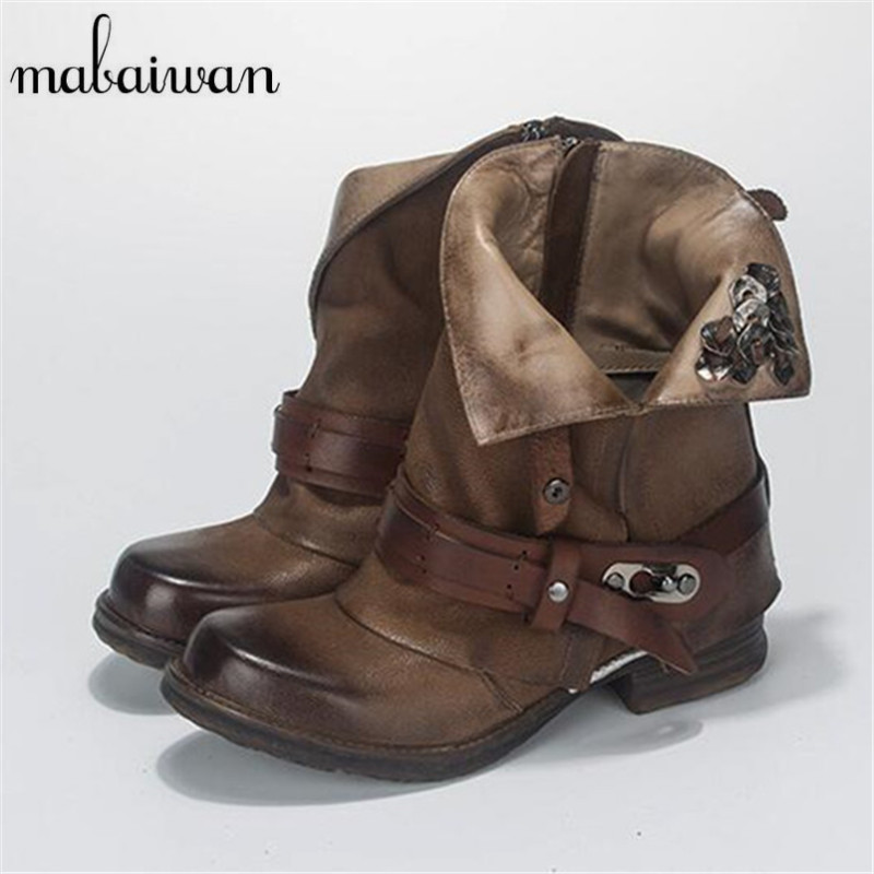 Mabaiwan Retro Brown Ankle Boots for Women Metal Decor Autumn Winter Botas Mujer Genuine Leather Platform Rubber Shoes Woman ac380v panel mount 8p 1 999900 count range digital counter relay dh48j dpdt