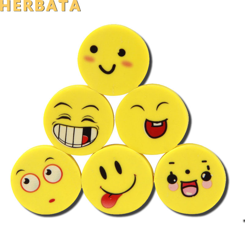 Free Shipping  8 Pcs/lot  Cute Kawaii Smiley Rubber Eraser For Kids Gift School Supplies Korean Stationery Wholesale