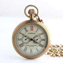 Free Shipping Antique London Two Small Dial Mechanical Pocket Watch Roman Number Hand Wind Fob Watch Gift Box