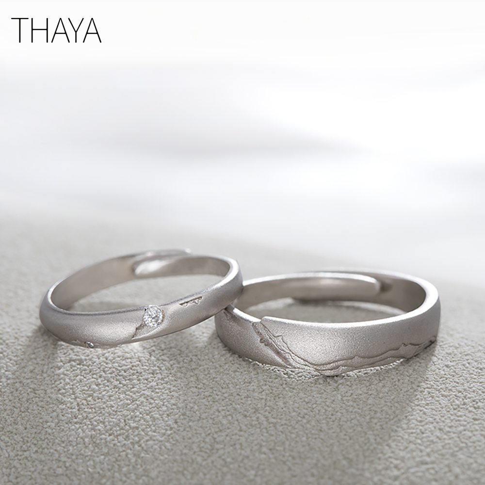 Thaya Seeking Rings S925 Silver Circular Rock Design Zircon Jewelry Ring for Women Elegant Simple GiftThaya Seeking Rings S925 Silver Circular Rock Design Zircon Jewelry Ring for Women Elegant Simple Gift