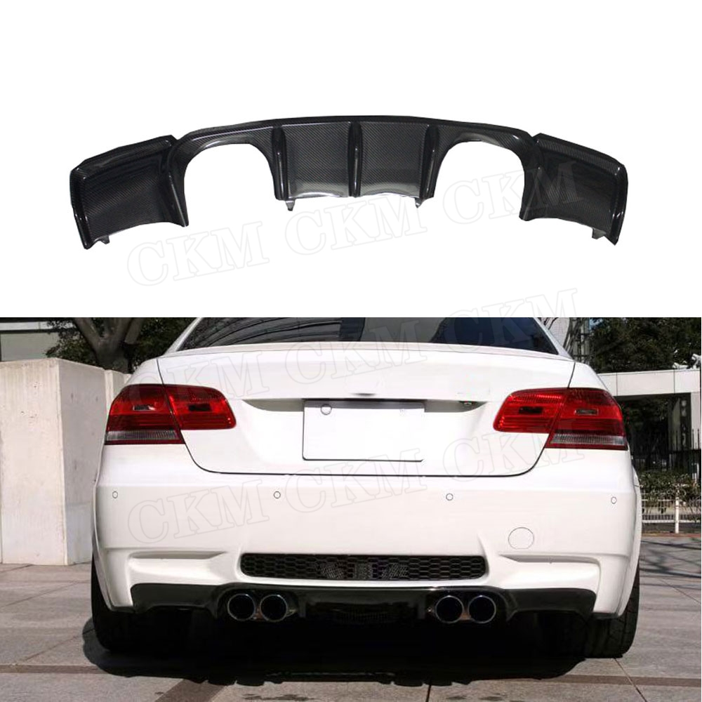 Carbon Fiber Rear Bumper Lip Spoiler Diffuser for BMW E92 M3 Coupe E93 M3 Cabriolet 2009 - 2012 Quad Exhaust Two Outlet exhaust image