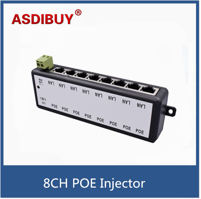 8CH Channel CCTV POE Injector For Surveillance IP Cameras Power over Ethernet Adapter with Shell CCTV