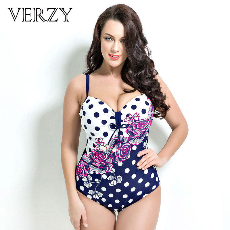 Large size women's swimming suit Sexy Women Spaghetti Strap swimwear Polka Dot Plus Size swimwear Monokini one piece swimsuit women one piece triangle swimsuit cover up sexy v neck strappy swimwear dot dress pleated skirt large size bathing suit 2017