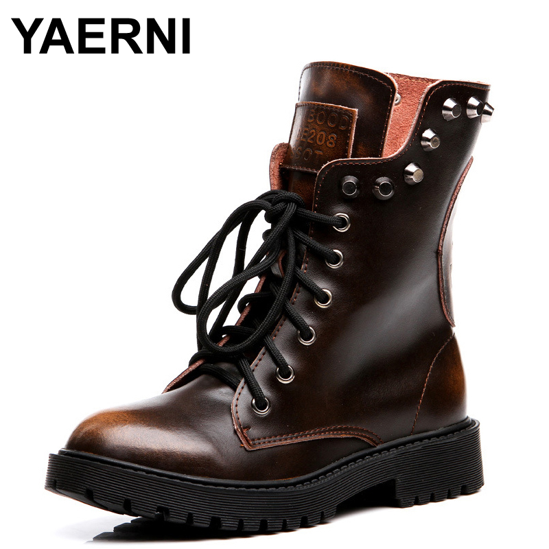 YAERNI Military Boots For Women Genuine Leather Shoes Skull Rivets Mid-Calf Boots Heels Platform Combat Boots Fur Punk Boots mabaiwan handmade rivets military cowboy boots mid calf genuine leather women motorcycle boots vintage buckle straps shoes woman