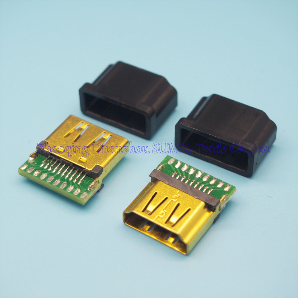 10set/lot Gold Plating HDMI female socket with PCB board 19P HDMI Jack With Plastic shell