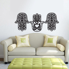 ZOOYOO Three Hamsa Hand Living Room Wall Stickers Vinyl Removable DIY Home  Decor Indian Buddha Art Mural