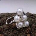 2016 Sinya joyería de regalo de cumpleaños anillo de plata 925 para las mujeres con 5 unids genuina perla natural de Agua Dulce de la boda Caliente venta