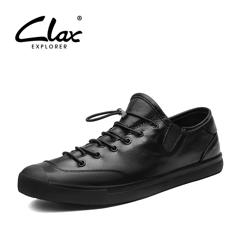 CLAX Men Casual Shoes Spring Autumn Black Fashion Leather Shoe Young Mens Leisure Footwear British Style Flat Walking Shoe Soft 2016 spring autumn europe china style new tide men canvas casual shoes blue black letters print sewing elastic band flat shoes
