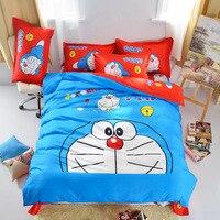 3D в полоску Doraemon мультфильм Постельное белье дети плед/горошек/леопардовый рисунок «Hello Kitty» кровать Простыни Набор пододеяльников для пухо...