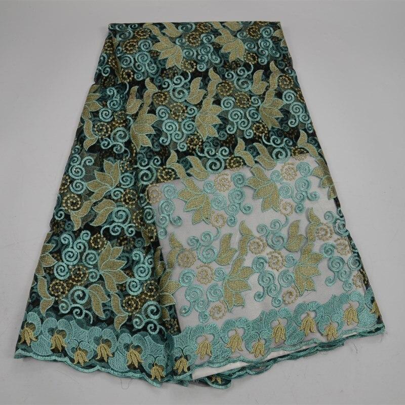 2018 Promotion Aqua vert africain dentelle tissu pour robe de soirée bonne recherche mode français Net dentelle tissu pour couture matériel 30