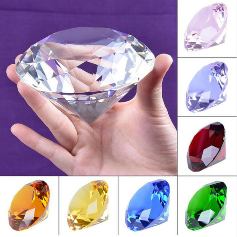 9 Color 10cm Huge Clear Crystal Diamond Paperweight <font><b>Glass</b></font> Fengshui Crafts Ornaments Home Decor Wedding Gift Party Souvenir