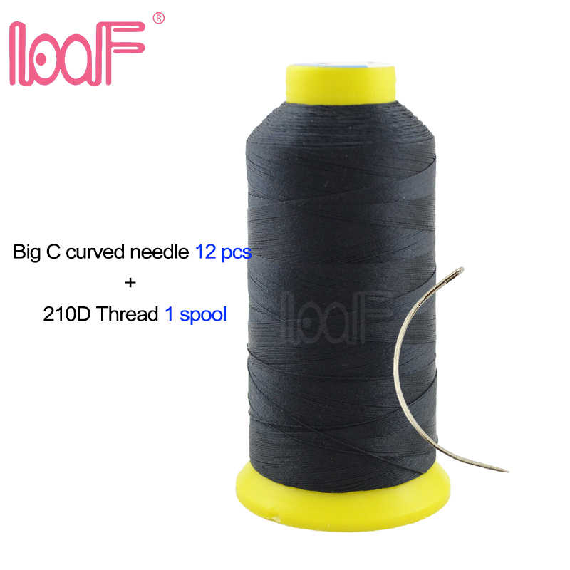 LOOF Wigs Sewing Thread 1 pc n C curved Needle 12pcs 9cm High Intensity Polyester Sewing Thread for human hair Weft Weaving Kits