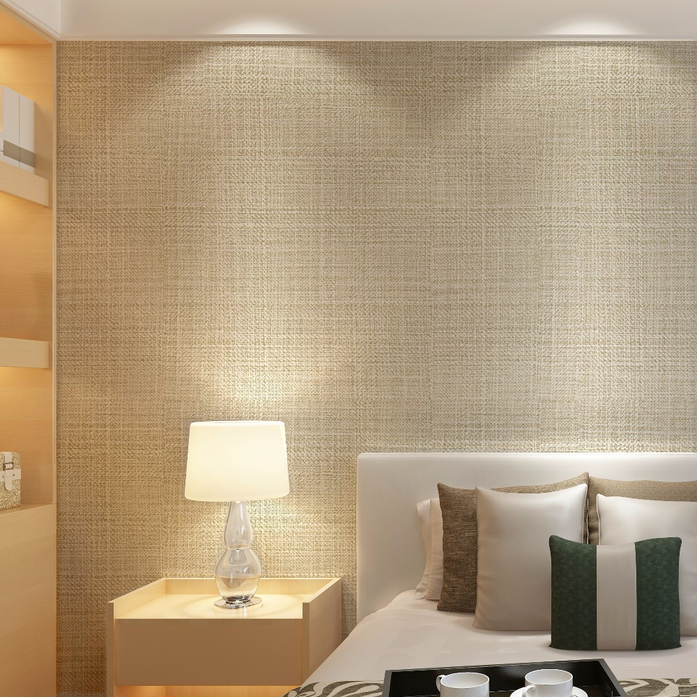 Modern Vinyl PVC Faux Linen Wall Paper For Hotel Room Plain Solid Color Beige Wallpaper for Bedroom