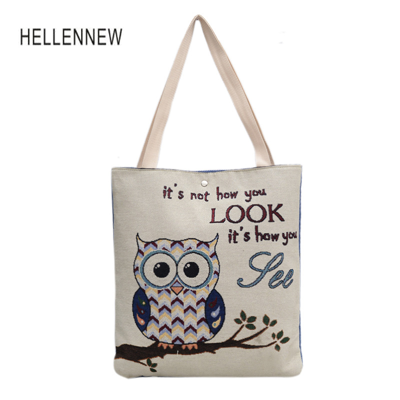 Hellennew 2017 Owl Printed Canvas Tote Female Casual Beach Bags Large Capacity Women Shopping Bag Daily Use Canvas Handbags forudesigns casual women handbags peacock feather printed shopping bag large capacity ladies handbags vintage bolsa feminina