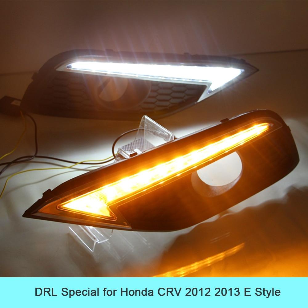 Car DRL kit for Honda CRV 2012 2013 LED Daytime Running Light BAR turn signal fog auto lamp cree daylight car led drl 12v light risoli литая сковорода гриль со съемной ручкой click 26x26 см