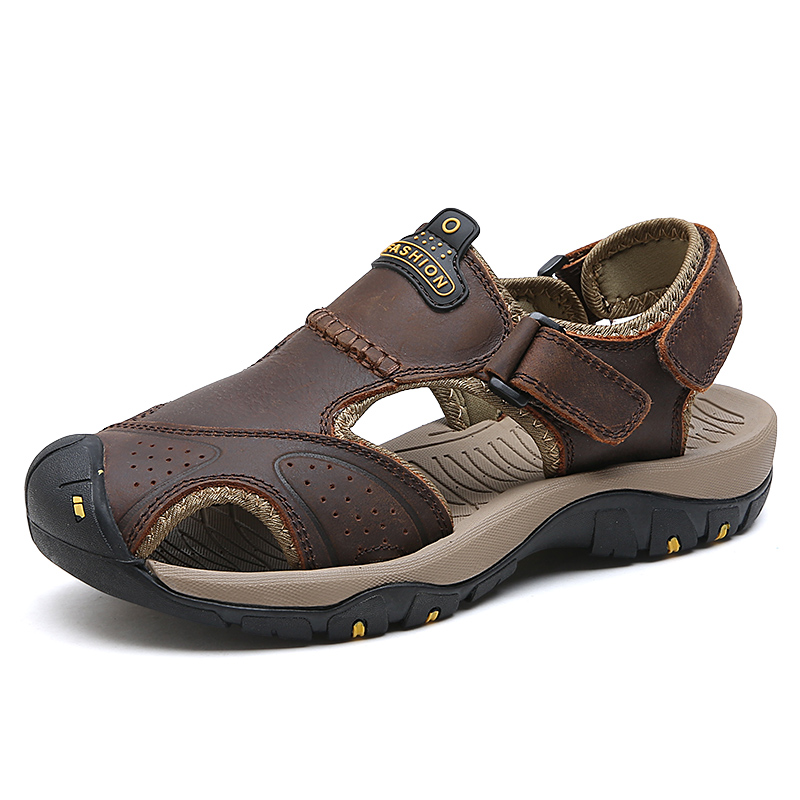 Para Transpirable Sandalias Senderismo Hombres 2018 Zapatos Luz Cuero Mujeres De Verano Genuino Suave Hombre EH2WD9I