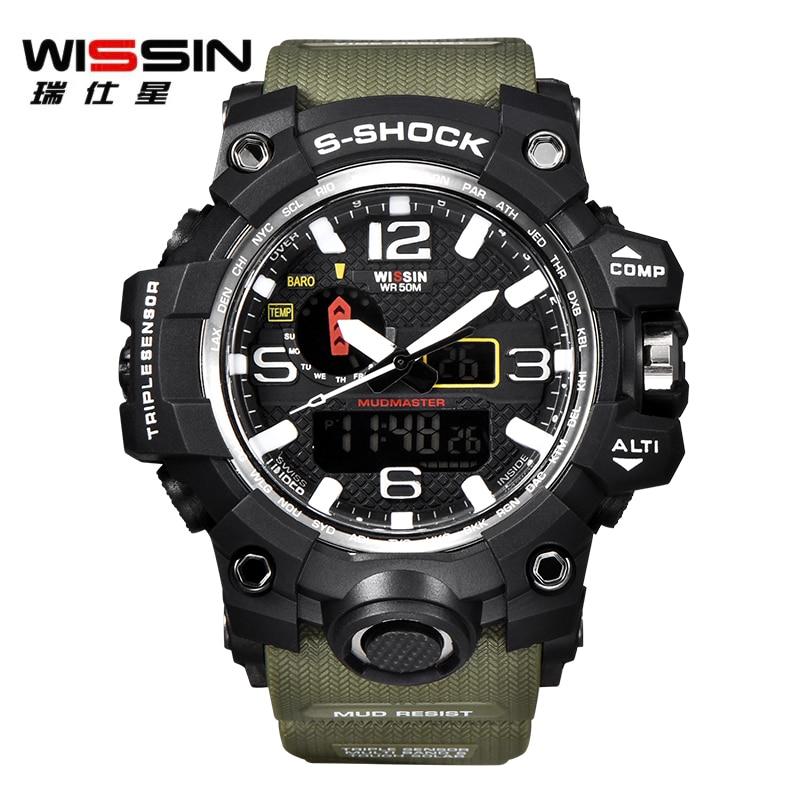 e979c6c00 Homens Relógios de Luxo De marca WISSIN S Choque Relógio Do Esporte Ao Ar  Livre Homem LED Relógio Digital Militar Do Exército Relógio de Quartzo  Relogio ...