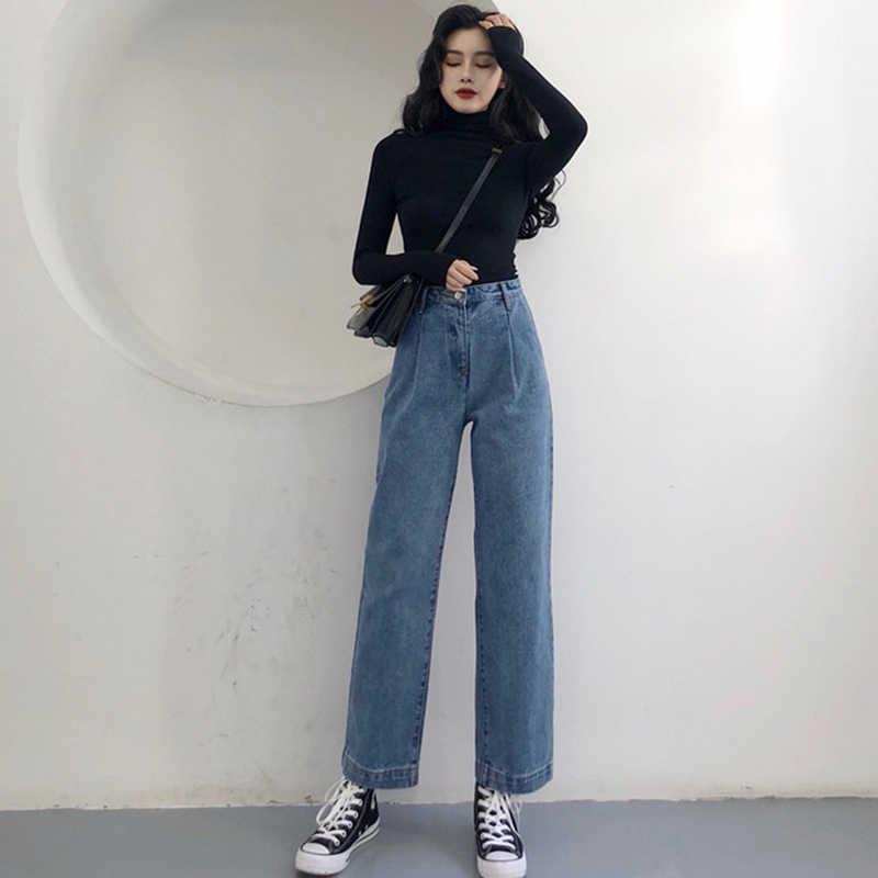 ファッション女性ハイウエストジーンズヴィンテージ 2019 春綿デニムパンツ女性ルースストレート脚パンツズボン