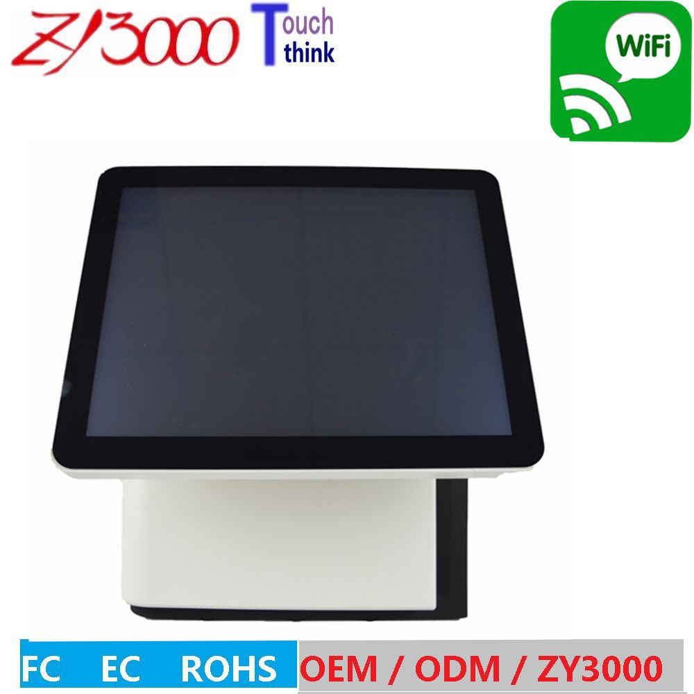 All In One Dual Screen POS System 15 Inch Touch Screen Pos Terminal  / All In One Touch Screen Pc With MSR Card Reader
