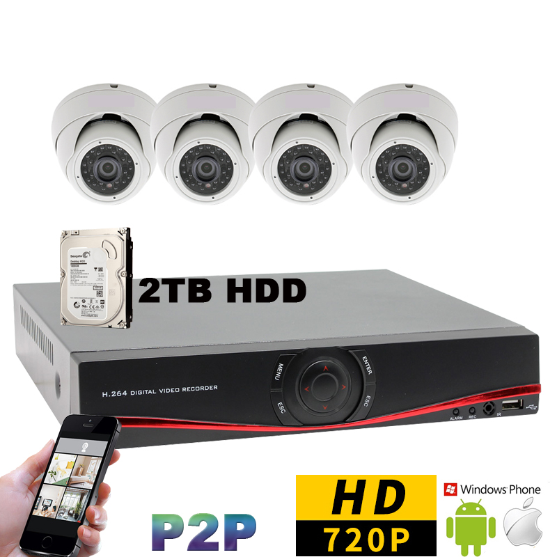 4CH Full HD 720P Indoor Dome Day Night Security Camera System 4 Channel CCTV AHD 960H DVR Video Surveillance Kit with 2TB HDD cctv 4ch 1080p ahd recording kit with hd 2mp dome ir day night 4 channel ahd camera kit video surveillance home security system