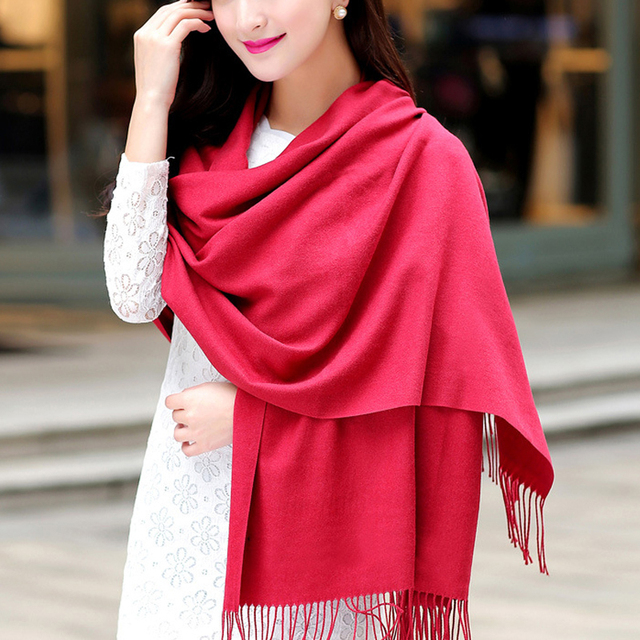 Fasshion Autumn Winter Scarf Women Cashmere Scarf Soft Warm Long Tassel Scarves echarpe hiver femme Solid Color Beach Shawl