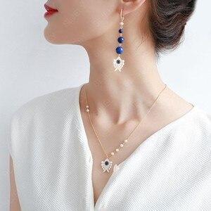 Image 5 - SLJELY collier en argent Sterling 925 pour femmes, pendentif en argent Sterling, couleur or jaune, perle aux yeux porte bonheur, chaîne ajustable, juin
