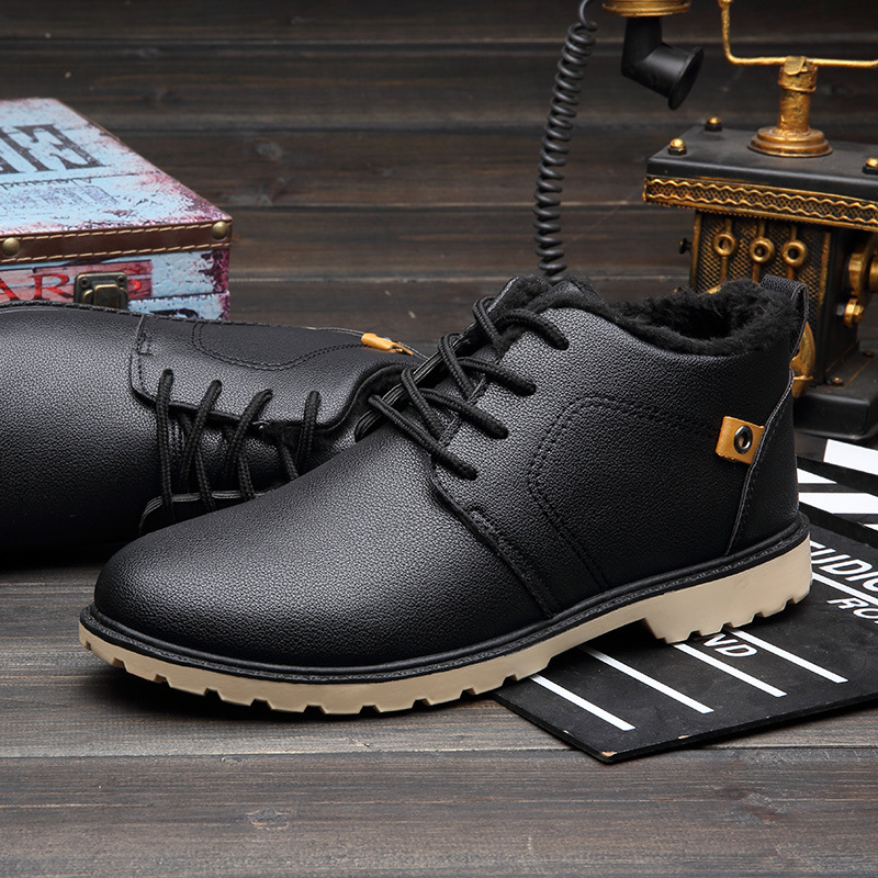 Fashion Men Winter Shoes Leather Snow Boots Lace UP Men Work Shoes Warm Plush Male Ankle