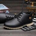 Homens da moda Inverno Sapatos de Couro Botas de Neve Rendas ATÉ Os Homens Trabalham Sapatos de Pelúcia Quentes Ankle Boots Masculinos Chaussure Homme NSX66