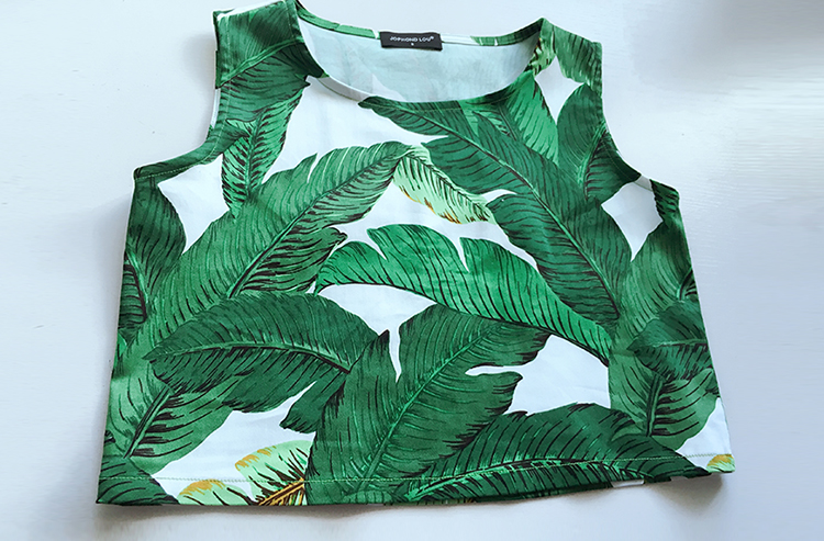 Customize Women Summer Fashion Plus Size 3XS 10XL Sexy Tropical Green Leaf  Print Top Vest + High Waist Short Pants Sets-in Women s Sets from Women s  ... b55c71f8870a