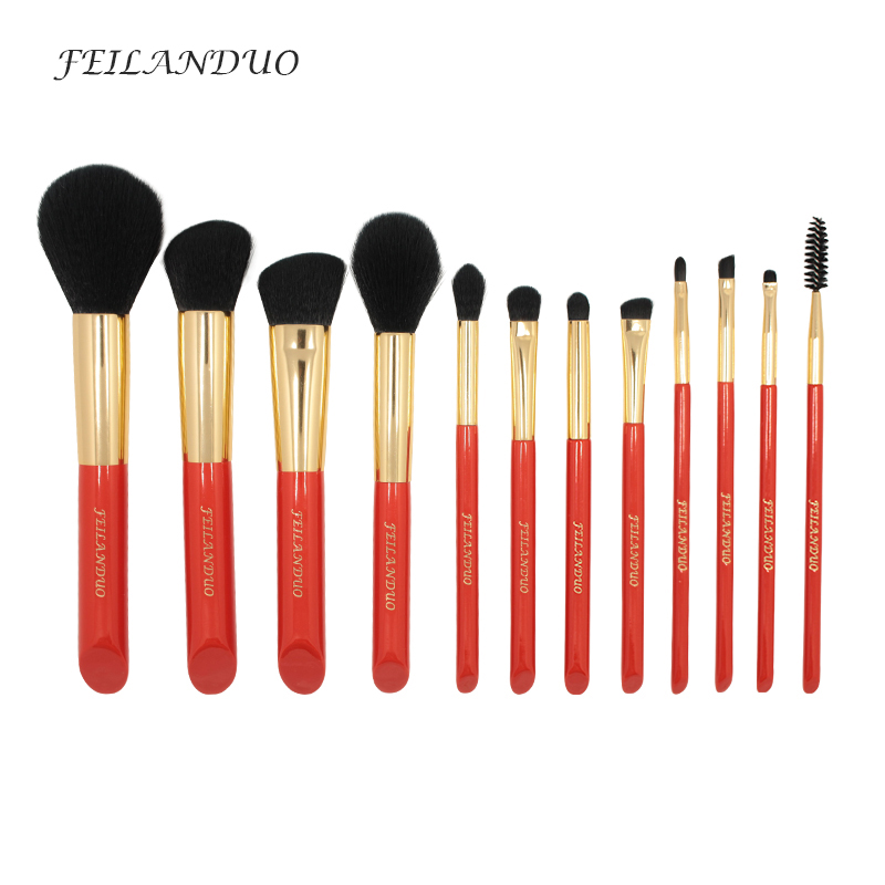 все цены на FEILANDUO 12Pcs Makeup Brushes Set Professional Soft Makeup Tool 2017 High Quality Foundation Shadow Eyebrow Brush Kit