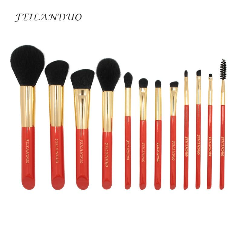 FEILANDUO 12Pcs Makeup Brushes Set Professional Soft Makeup Tool 2017 High Quality Foundation Shadow Eyebrow Brush Kit