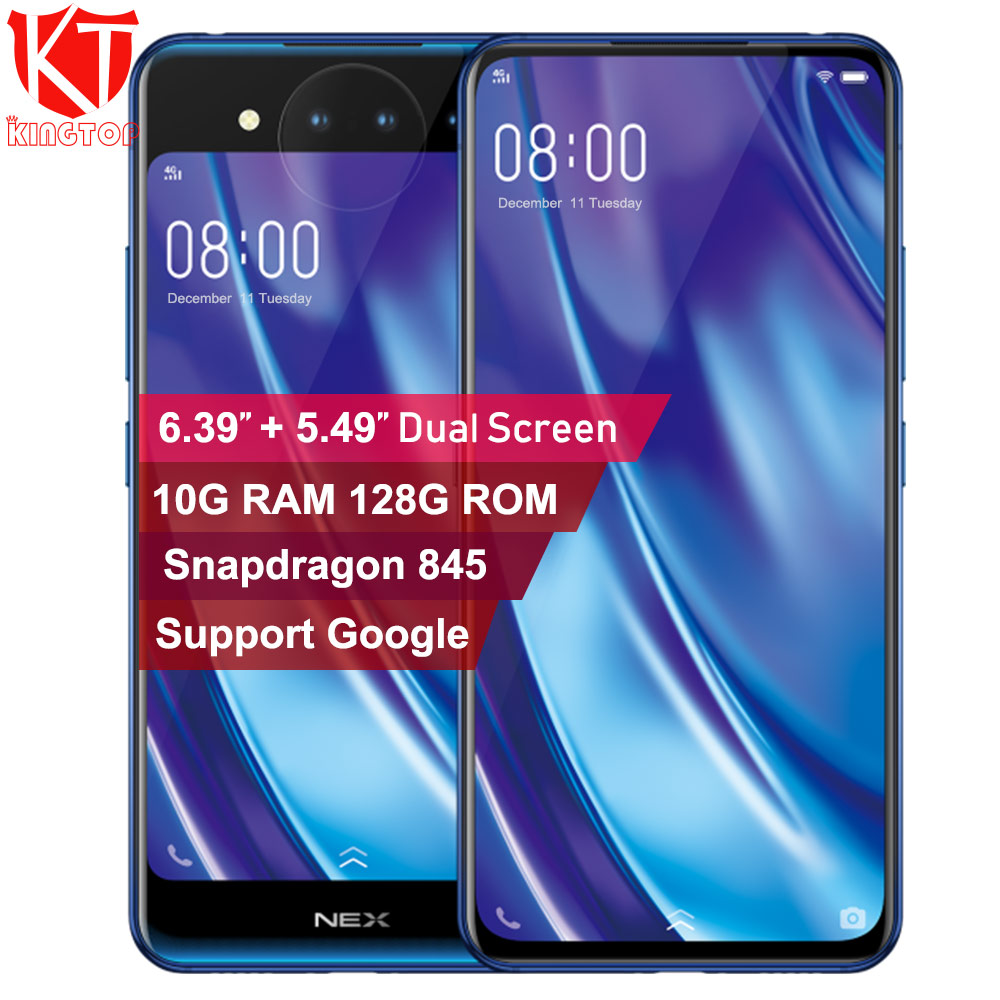Original vivo nex 2 Double sided screen mobile phone 10GB 128GB snapdraon 845 6.39 inch screen fingerprint three camera phone