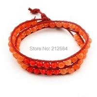 Fashion Women Orange Natural Stone Strand Leather Bracelet Handmade 6mm Round Beads Two Layer Wrap Bracelet Free Shipping F3228
