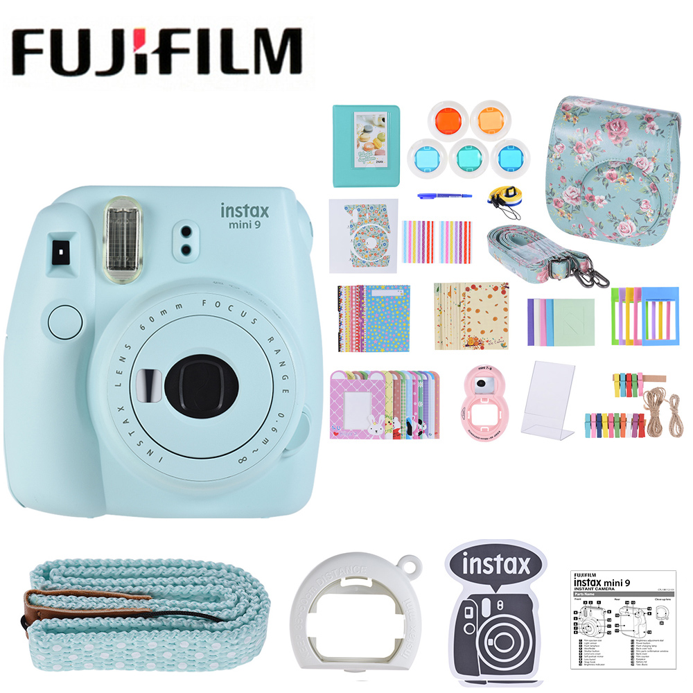 5 Colors Fujifilm Instax Mini 9 Instant Camera Photo Camera 2 Options/MINI 9+13 in 1 Kit Camera Case Filter+Album+Sticker+Other Собака