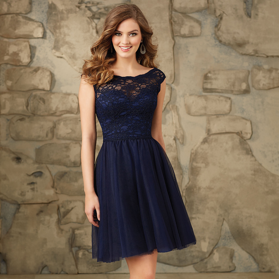 Soft hot sale a line modest navy blue bridesmaid dresses for Blue wedding dress with sleeves