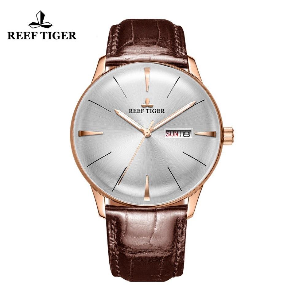 Récif Tigre/RT Simple Robe Montres pour Hommes Or Rose Bracelet En Cuir Automatique Montres 2018 Marque De Luxe Montre reloj RGA8238