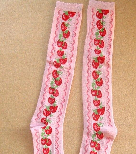 Принцесса сладкий лолита чулки королевский утолщение женский 100% хлопок колен-высокие - высокое винтаж клубника косплей чулок розовый и черный