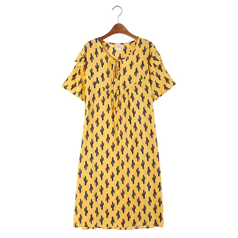 Summer Women   Nightgown   Short Sleeve   Sleepshirts   Sleepwear Cute Floral Loose Nightdress Nightwear Female Home Clothing