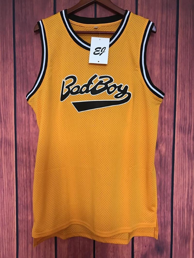 Prix pour EJ Biggie Smalls #72 Bad Boy Notorious BIG Basket-Ball Jersey Piqué JAUNE S-3XL