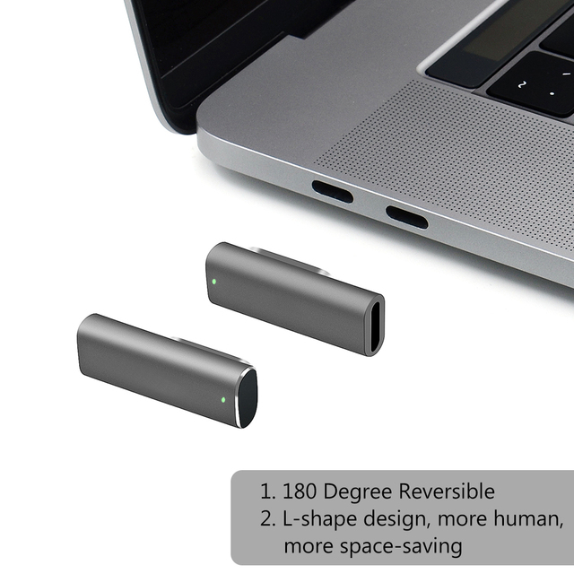 Magnetic USB type C Adapter USB 3.1 10 Gb/s PD,100W Quick Charge-4K @60 Hz High Resolution Compatible with MacBook Pro/Pixelbook